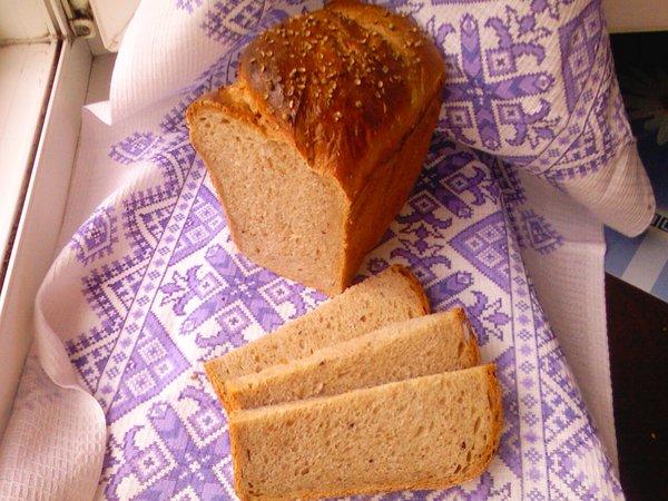 пшенично гречишно ржаной хлеб на жидких дрожжах в разрезе