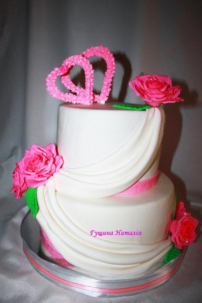 """Свадебный """" Розовые розы и сердечка"""""""